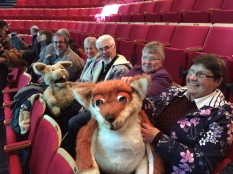 Fox and rabbit puppets